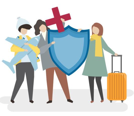 Illustration de personnes avec une assurance voyage